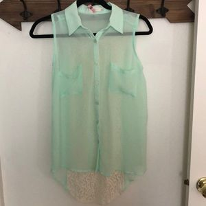 Mint Lush Blouse With Lace Back